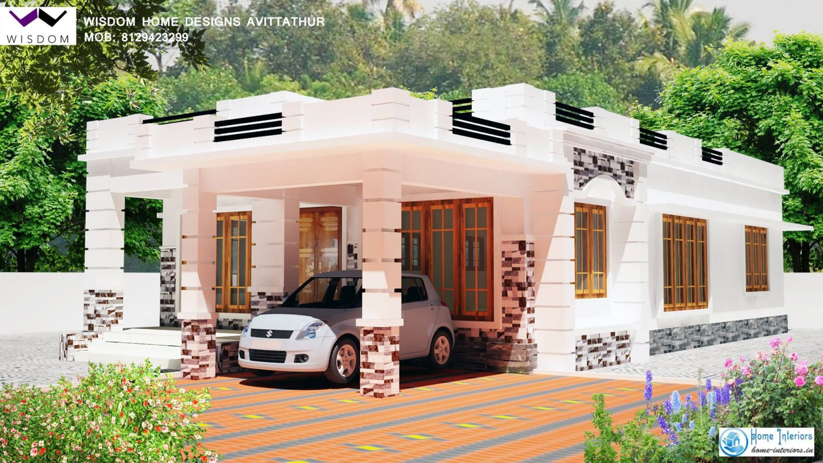 1250 sq ft kerala modern style home design for Kerala home design 1000 sq feet
