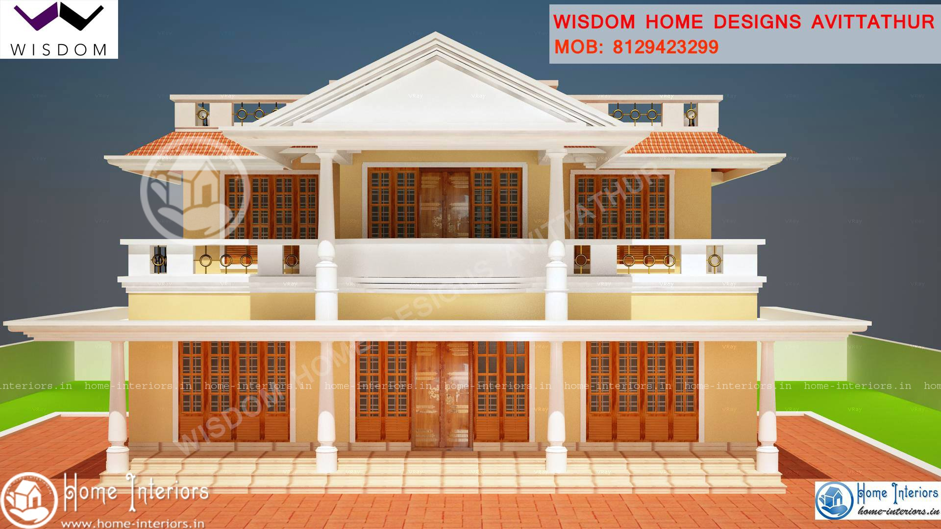1900 sq ft slop roof style kerala home design for Kerala style homes plans free