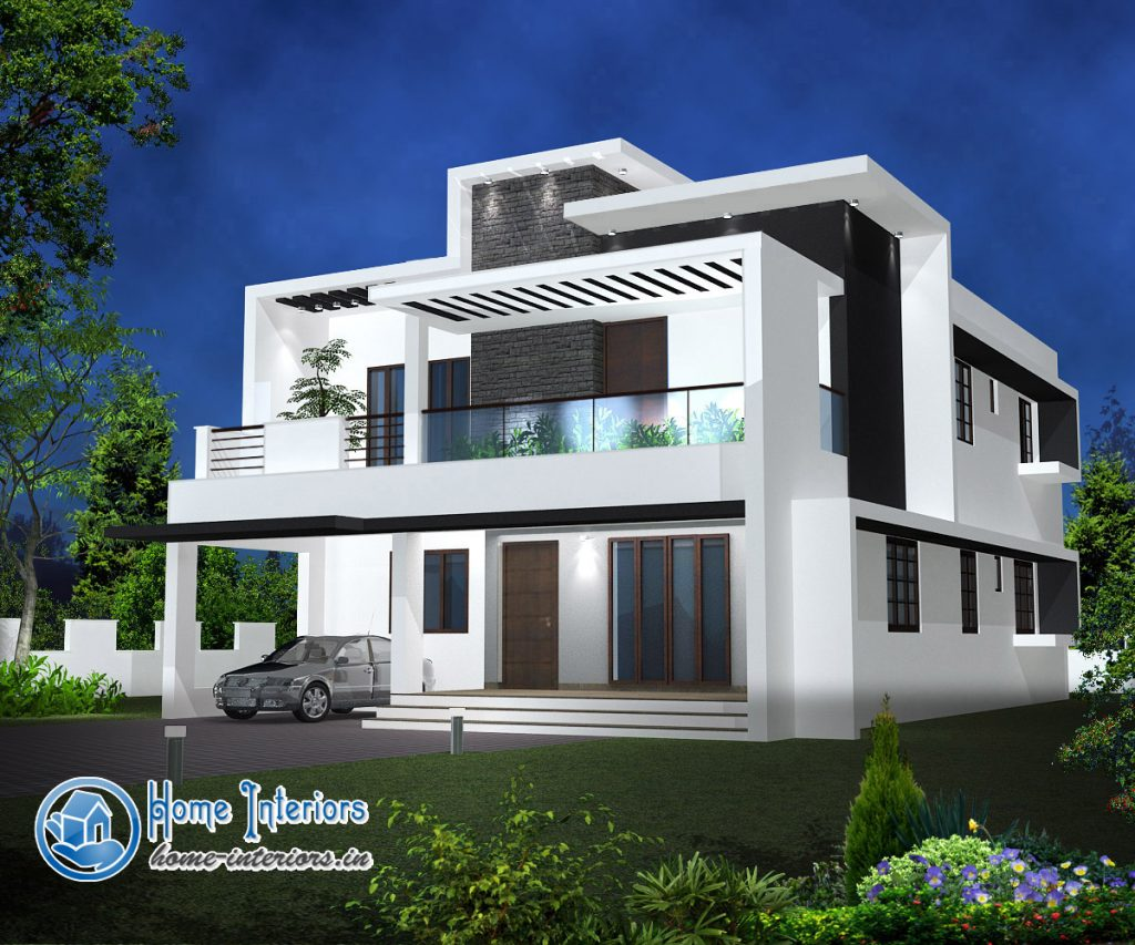 Double floor modern style home design 2015 for Home plans designs kerala