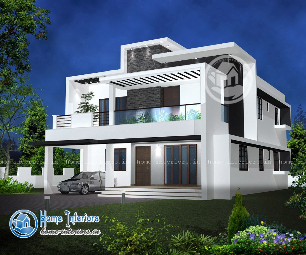 Double floor modern style home design 2015 for Kerala home designs photos in double floor