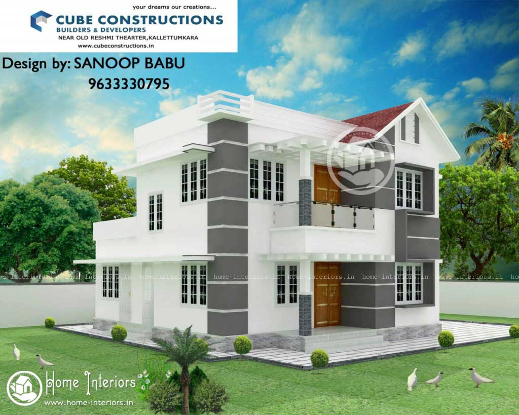 1341 sq ft 4bhk double floor kerala home design for Kerala home designs photos in double floor