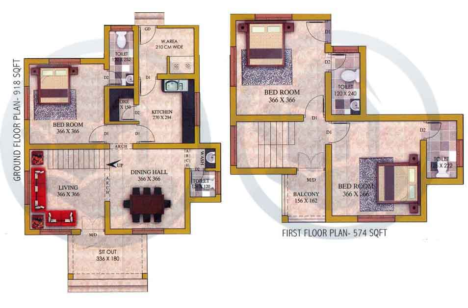 1492 sq ft 3bhk double floor home design for Home designs double floor