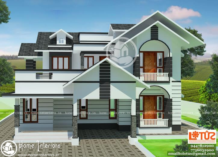 1939 sq ft modern style double floor home plan for Manorama veedu photos