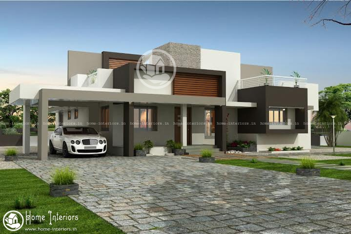 1955 sq ft single story contemporary house for Single story modern home design