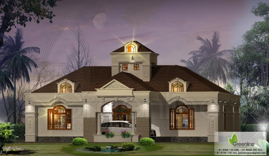 1500 sq ft beautiful single floor house design for Beautiful single floor house in kerala