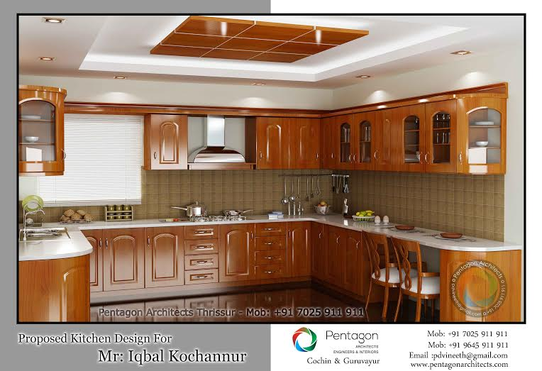 Traditional wooden style kitchen interior design for House interior design kerala photos