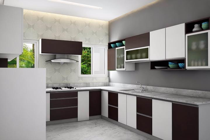 130 sq ft White Dark wood Kitchen Interior Design
