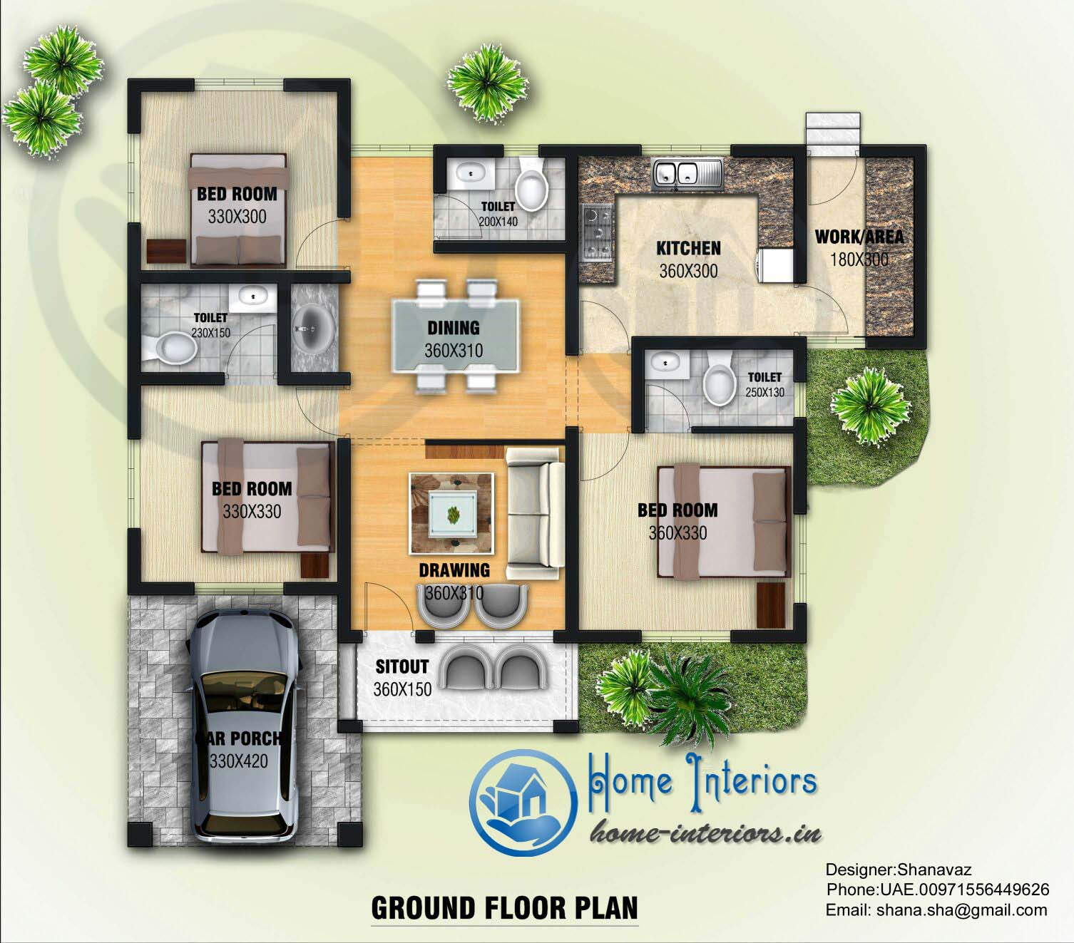 1300 sq ft single floor contemporary home design for Home plans and designs