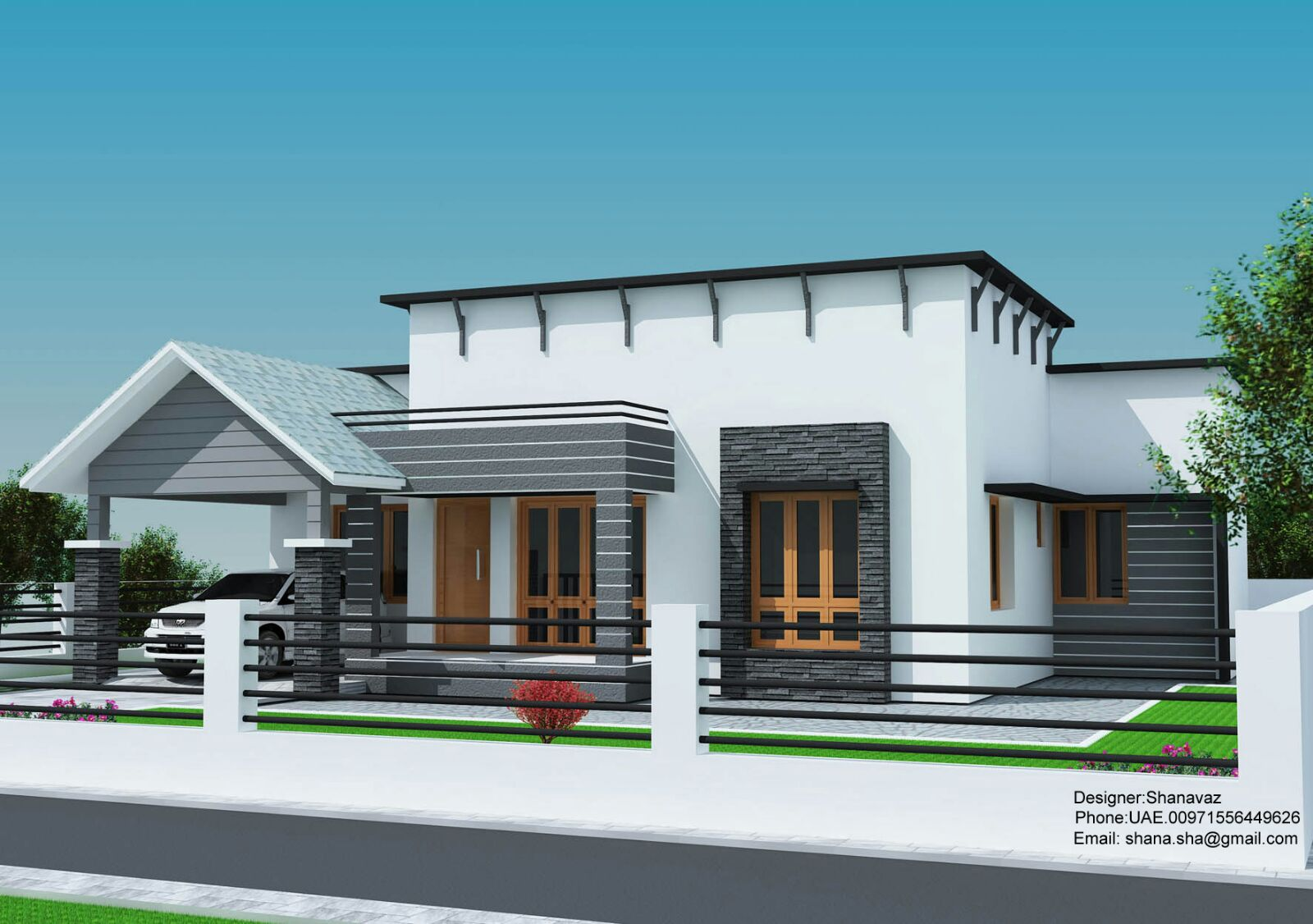 1300 sq ft single floor contemporary home design for Modern house plans 2015