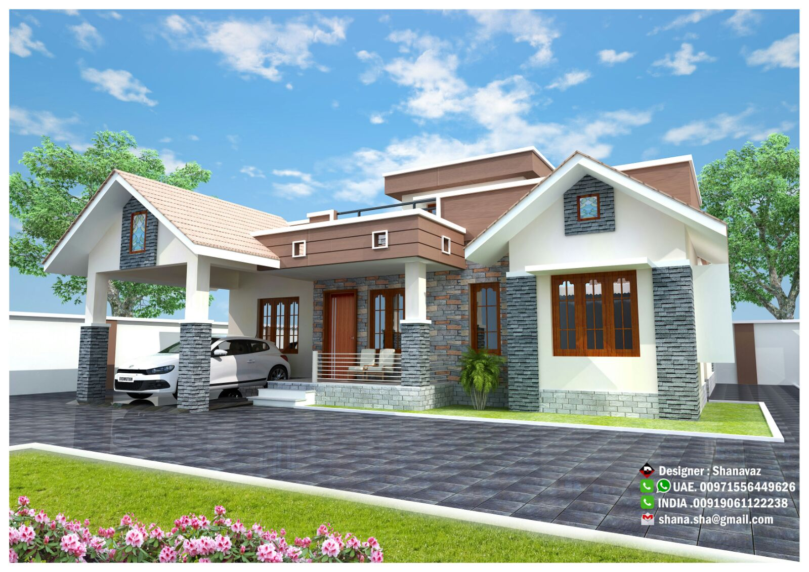Contemporary Single Floor Home In 1350 Sq Ft: 1300 Sq Ft Modern Single Floor Home Design