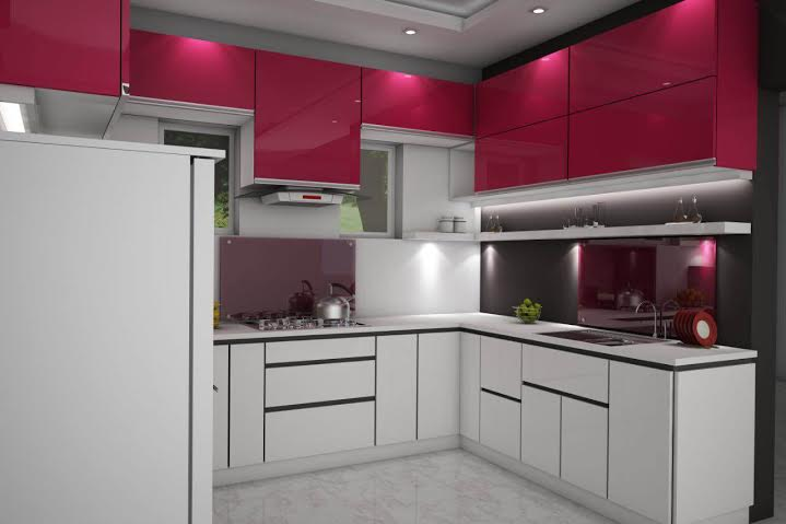100 sq ft white red rose kitchen interior design For100 Sq Ft Kitchen Designs