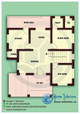 Modern single floor kerala home for 1000 sq ft house interior design