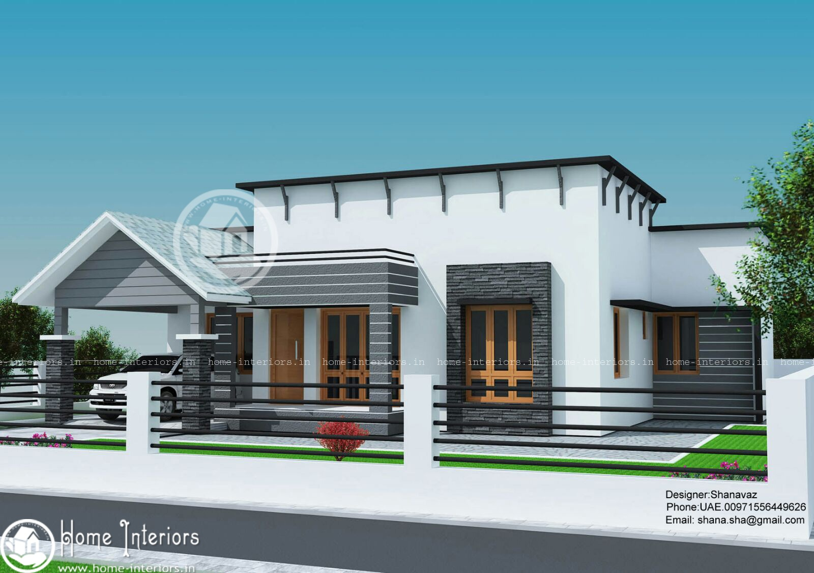 1300 sq ft single floor contemporary home design for One floor modern house plans