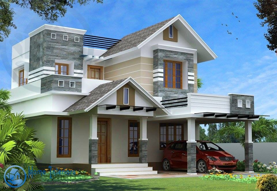 Modern kerala style house design with 4 bhk for Home designs double floor