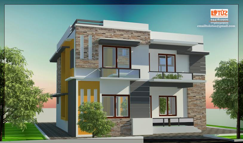 1700 Sq Ft Double Floor Contemperory Home Design