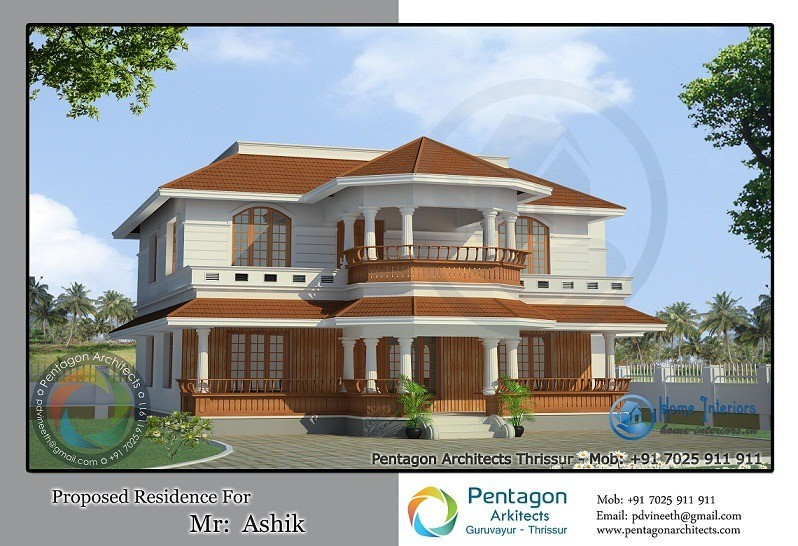 Traditional style double floor kerala home design for Kerala traditional home plans with photos