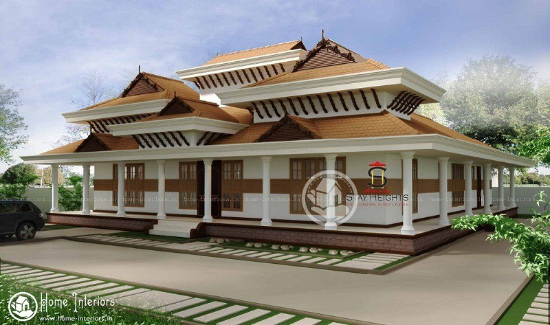 Traditional nalukettu double floor kerala home design for New model veedu photos