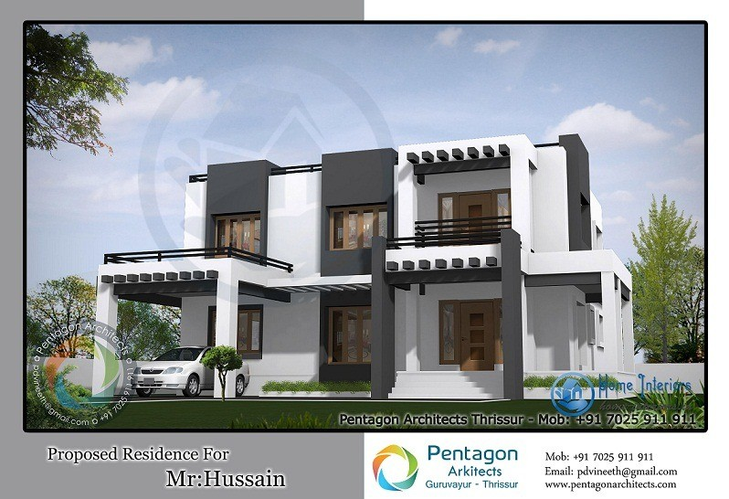 Dazzling modern double floor kerala home design for Kerala home designs photos in double floor