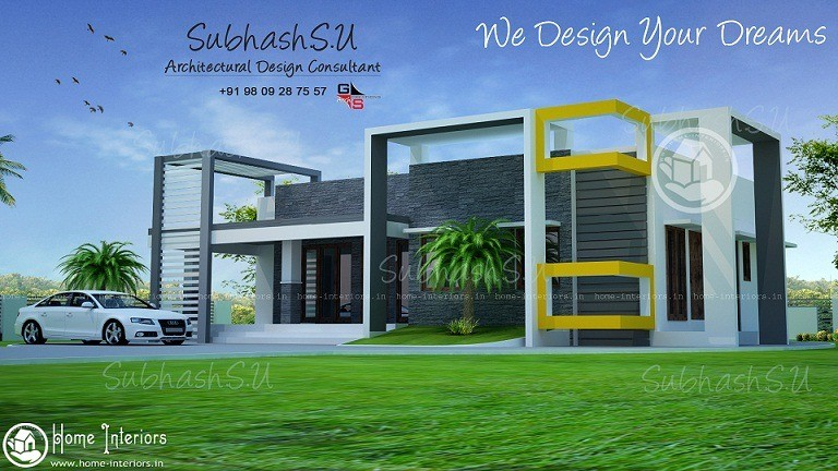 Single floor contemporary kerala home design home interiors for Modern kerala style house plans with photos