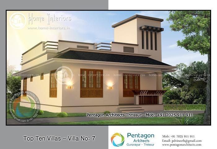 Kerala Style Low Cost Double Storied Home: Beautiful Kerala Single Storied Low Cost Home Designs