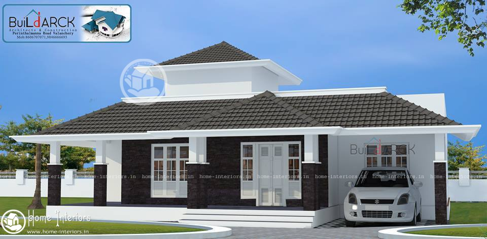 1634 sq ft contemporary single floor home design home for Home plans designs kerala