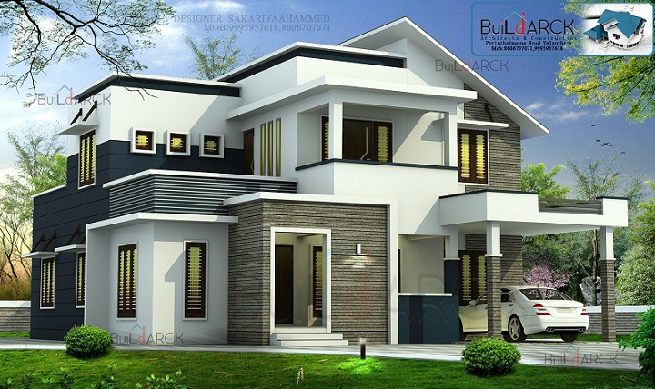 Home Design Ideas Contemporary: 2422 Sq Ft Double Floor Contemporary Home Design