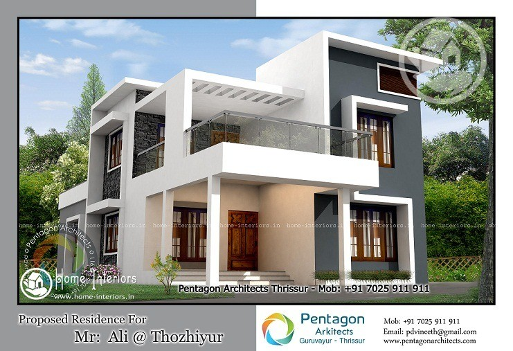 2261 sq ft contemporary kerala home design home interiors for Home designs kerala architects