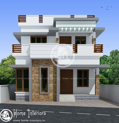 1032 sq ft contemporary double floor home design - home-interiors