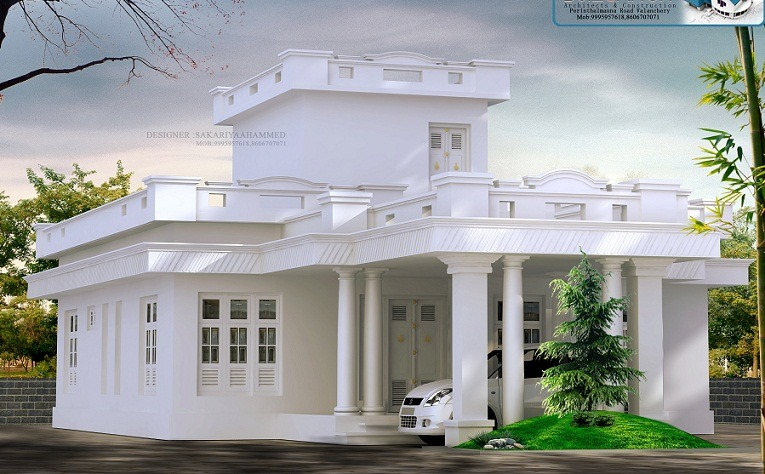 1541 Sq Ft Single Floor Traditional White Home Design