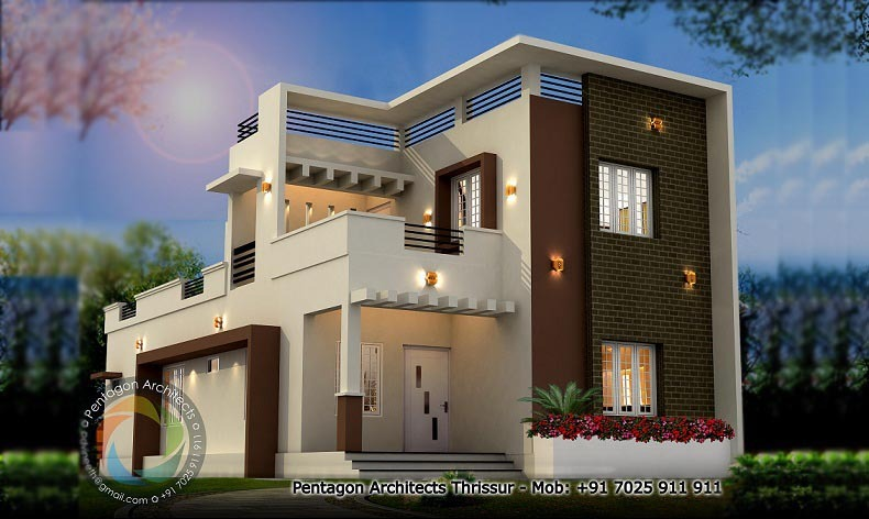 1748 Sq Ft Double Floor Contemporary Home Design - Home-Interiors