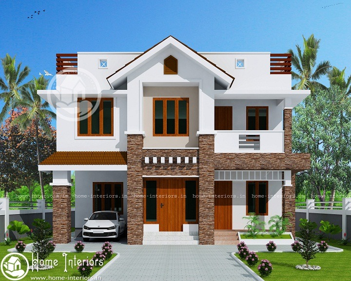 Sq Ft Modern Style Double Floor Home Design Home Interiors