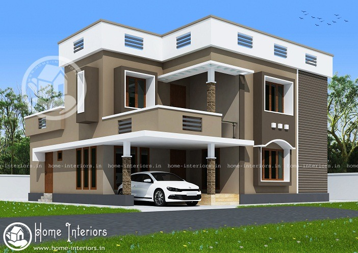 Sq Ft Double Storied Modern Home Design Home Interiors