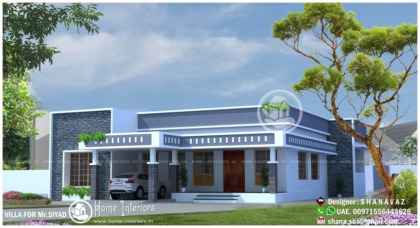 1990 Sq Ft Single Floor 4 BHK Modern Home Designs