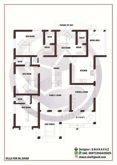 1990 sq ft single floor 4 bhk modern home designs home for Floor plan for 4bhk house