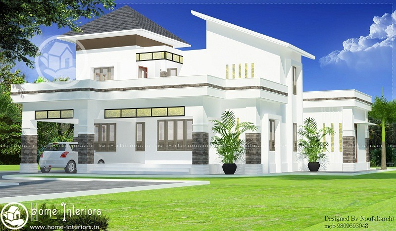 2000 Sq Ft White Contemporary 4 BHK Home Design - Home-Interiors