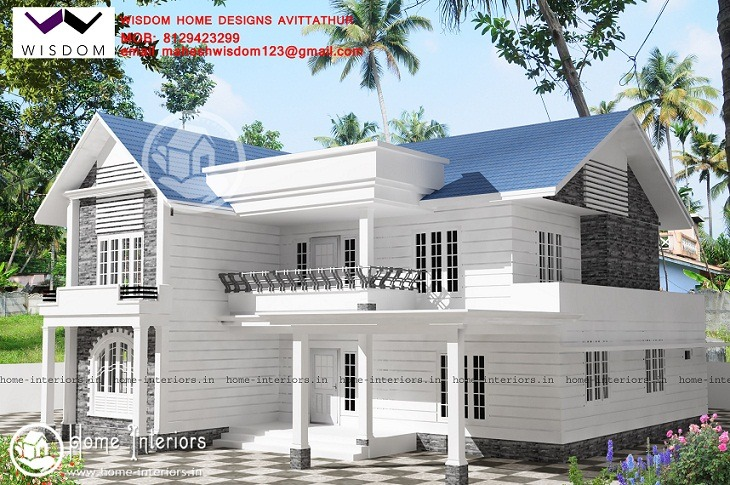 2086 sq ft double floor contemporary home design home for Balcony designs kerala style