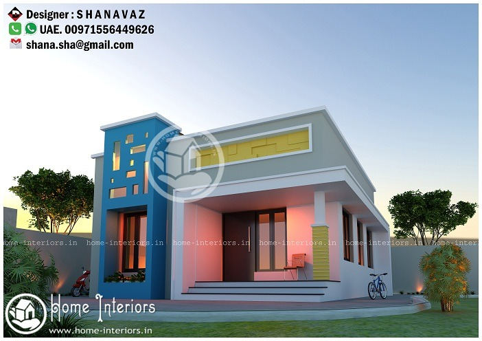 640 sq ft low cost single storied modern home design - Home Design Pictures