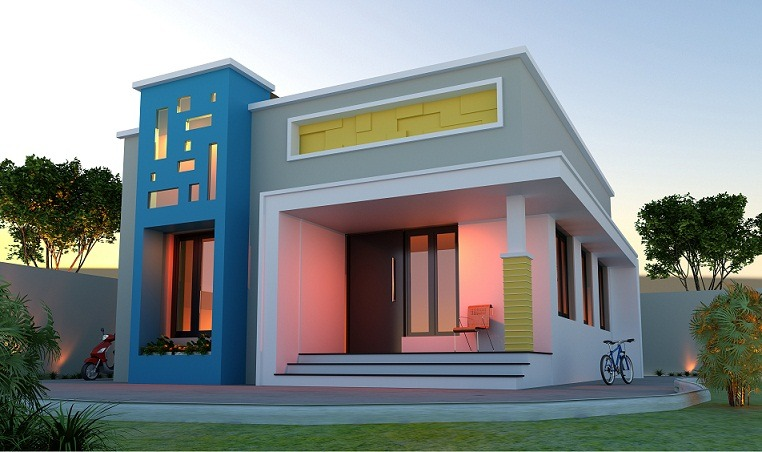 640 sq ft low cost single storied modern home design for Low cost house plans with photos in kerala