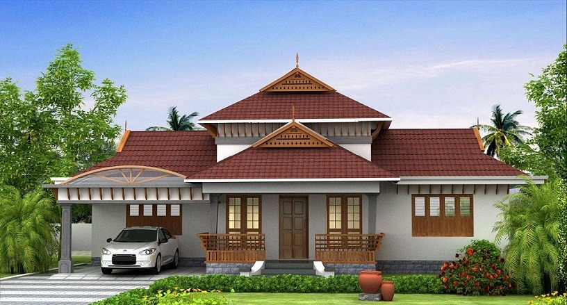1850 sq ft modern traditional 3 bhk home design home for Traditional home designs kerala