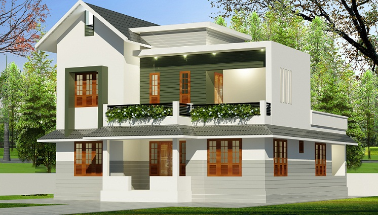 1650 sq ft double floor modern 4 bhk home design for Kerala home designs com