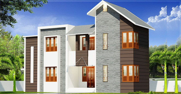 1500 Sq Ft Contemporary 4 Bhk Double Floor Home Design