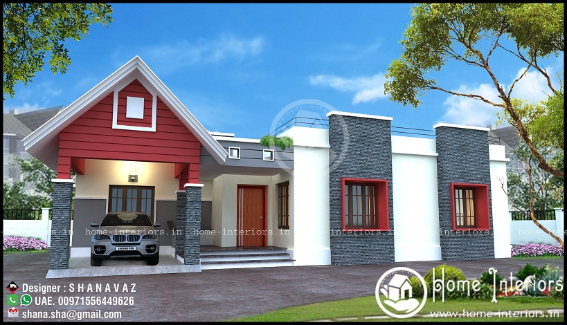 Contemporary Single Floor Home In 1350 Sq Ft: Beautiful Double Floor Home Design With Free Home Plan