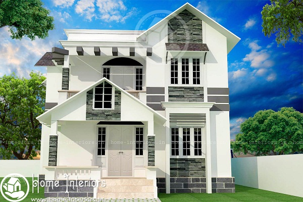 1500 sq ft double floor contemporary home design for House plans below 1500 sq ft kerala model