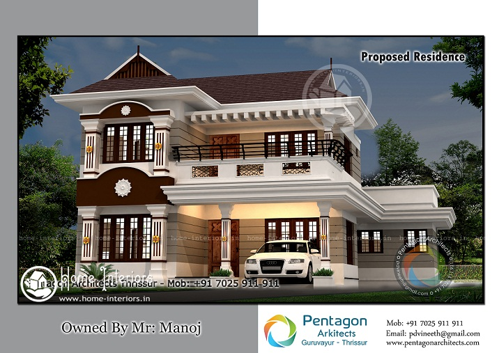 2200 Sq Ft Double Floor Traditional Home Design
