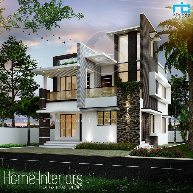 1600 Sq Ft Double Floor Box Type Home Designs