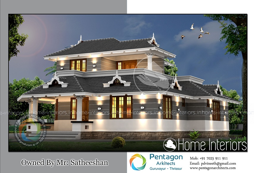 1726 Square Feet Double Floor Modern Traditional Home Design