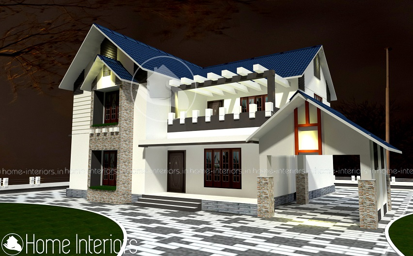 2400 square feet double floor contemporary home designs for Modern house plans 2400 sq ft