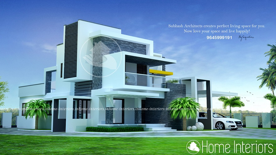 2400 square feet 3 bhk contemporary budget home design for Modern house plans 2400 sq ft