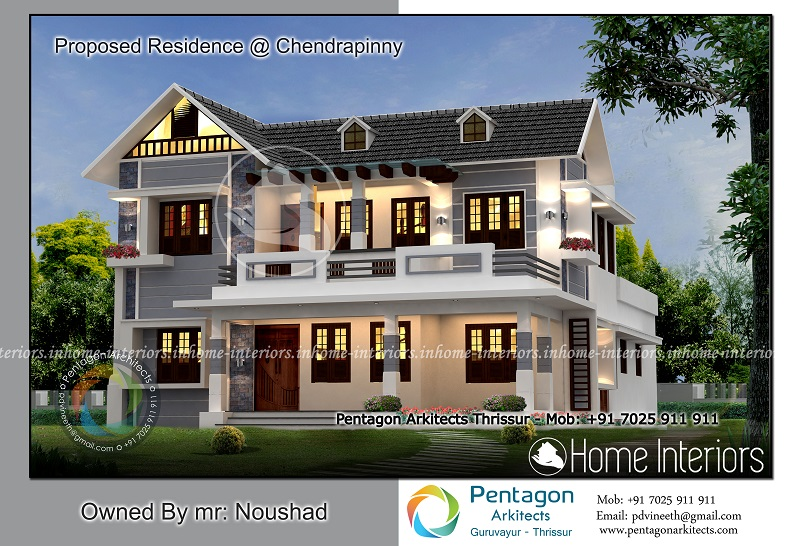 2927 Square Feet Double Floor Modern Traditional Home Design