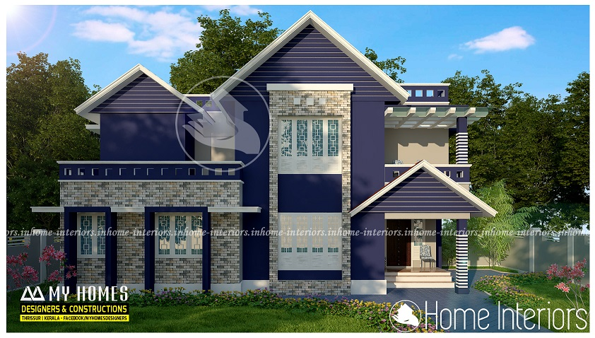 1700 square feet 3 bhk double floor contemporary home design for Modern house plans 1700 square feet